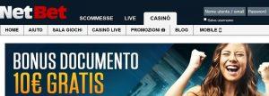 Bonus di benvenuto NetBet Casino 1000€