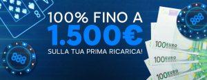 Bonus senza deposito: 8€ gratis su 888poker!